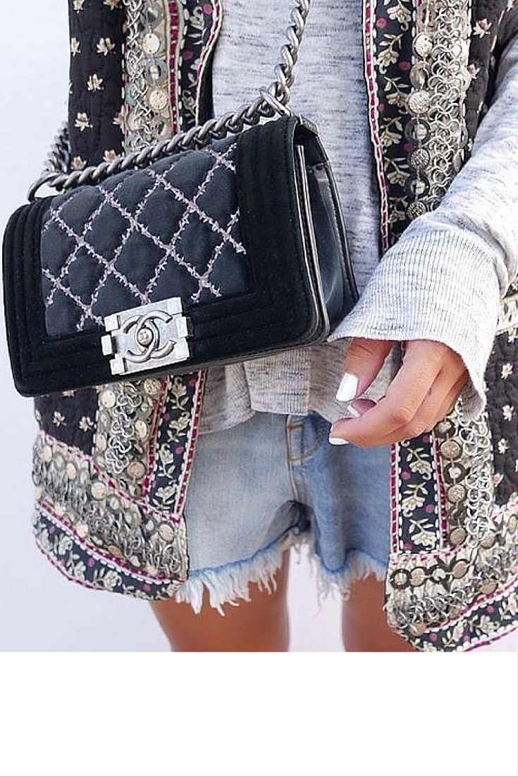 sneakers and pearls, casual Saturday look, denim shorts with an ethnic vest for a transitional look, velevt chanel bag, trending now.jpg