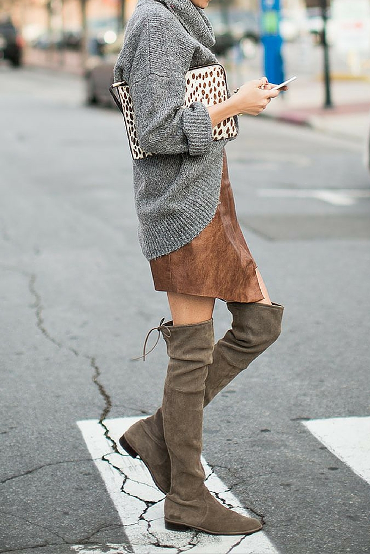 sneakers and pearls, street style,casual Saturday look, over the knee boots with short skirts and a jumper, trending now.jpg