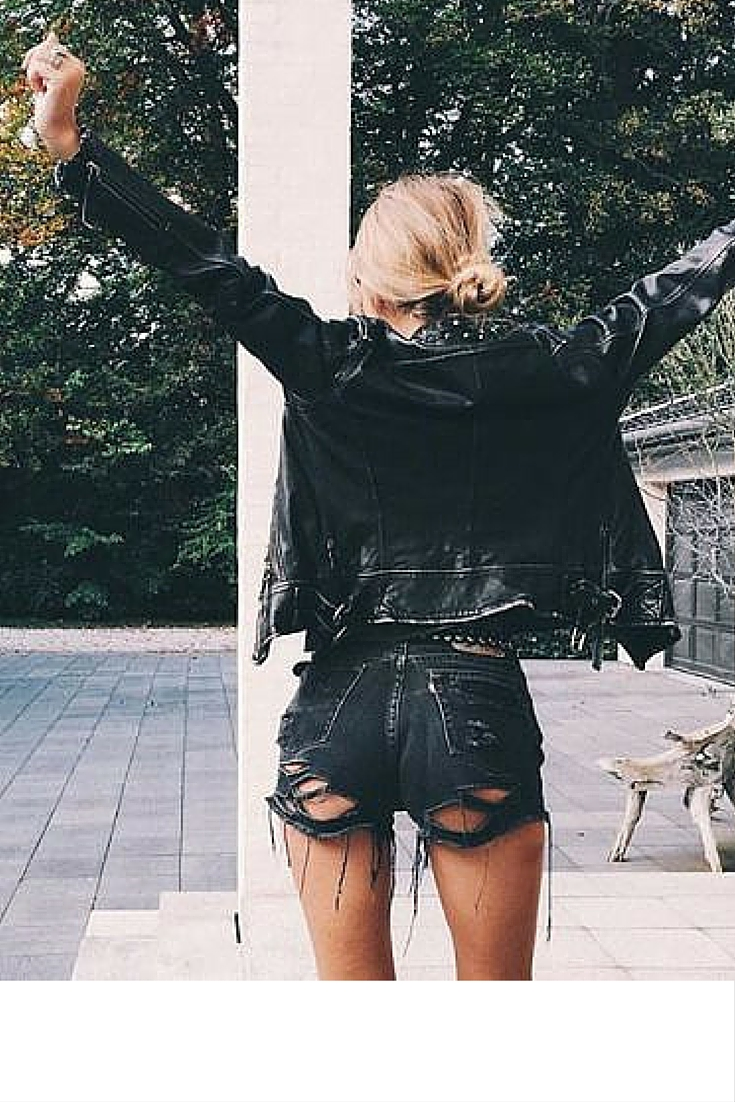 sneakers and pearls, casual Saturday look, black ripped shorts, black leather jacket, trending now.jpg