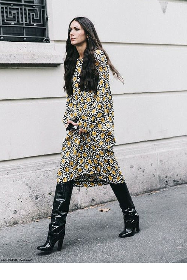sneakers and pearls, street style, wear black knee high boots with a dress under the knee for a bohemian yet chic look, trending now.jpg