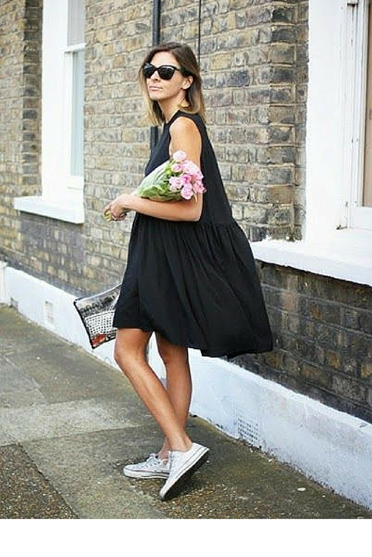 sneakers and pearls, street style, wear sneakers with a girly dress for a casual look, trending now.jpg
