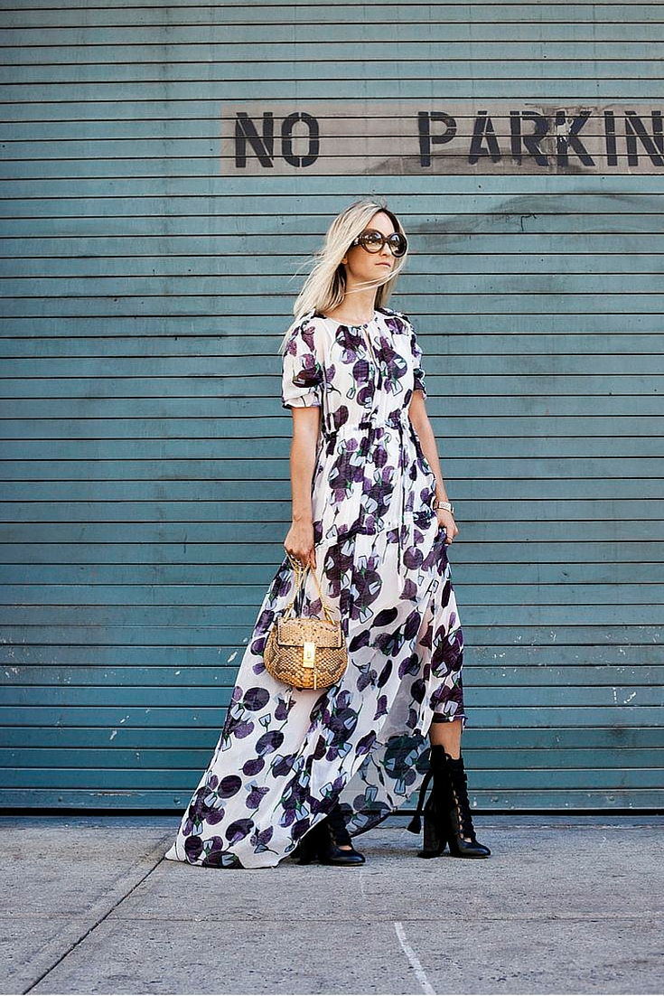 sneakers and pearls, street style, long floral dress with balck leather booties, trending now.jpg