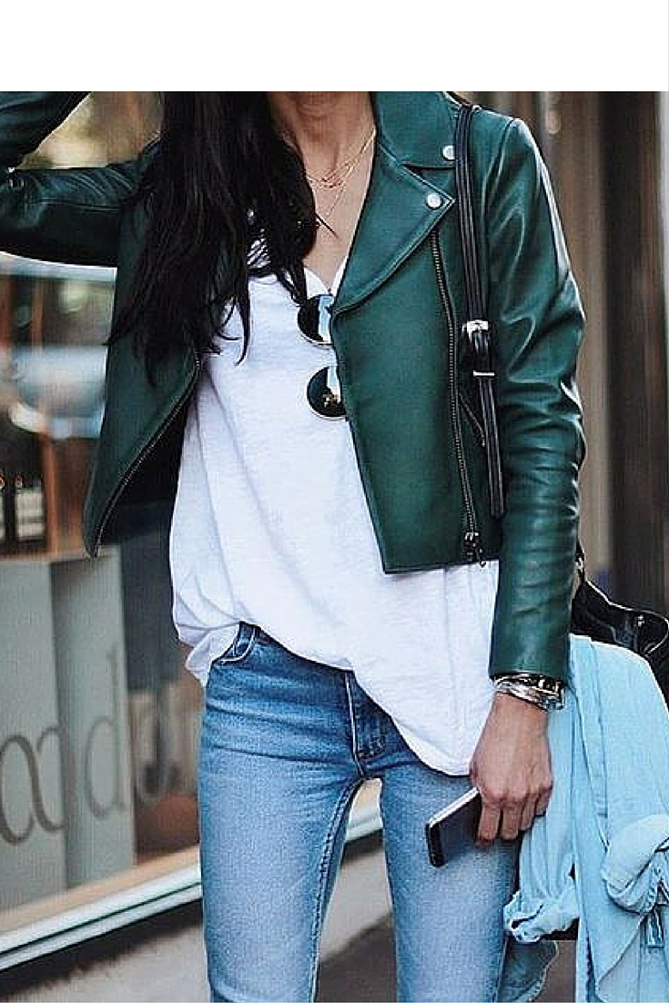 sneakers and pearls, street style, denim white tee and leather jacket, denim on denim, trending now.jpg