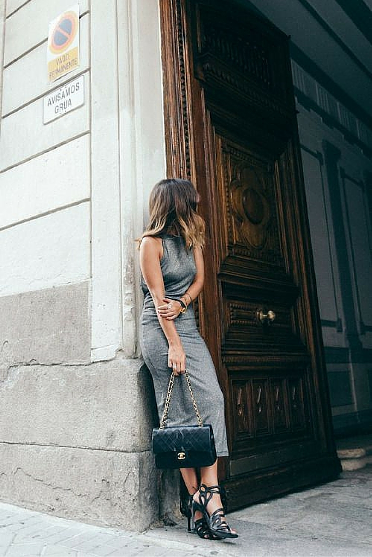 sneakers and pearls, street style, grey fitted dress, black heel sandals, Chanel handbag, trending now.jpg