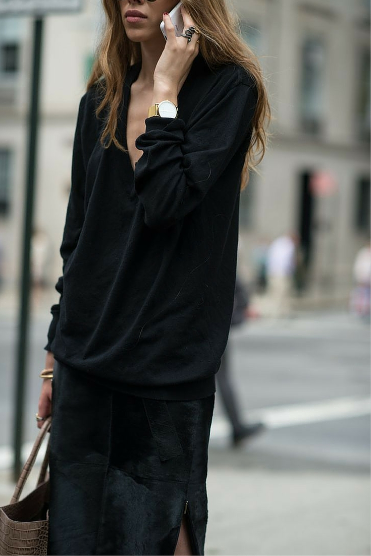 sneakers and pearls, street style, total black casual ensemble, black jumoer over a black suede skirt, trending now.jpg