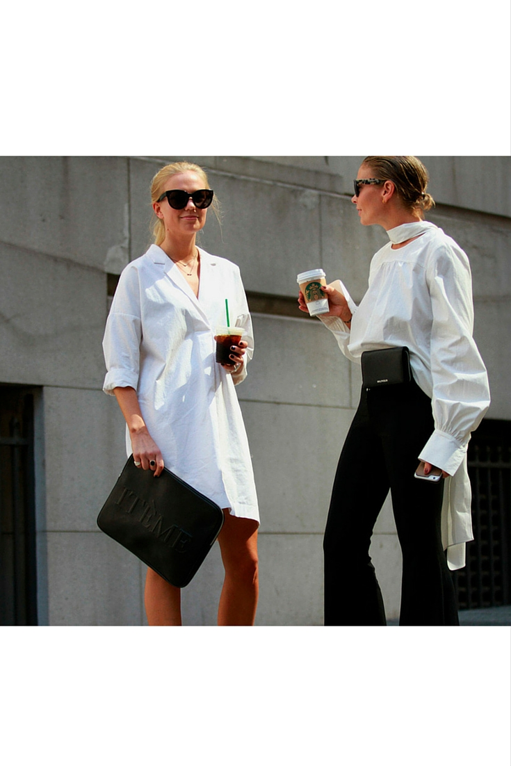 sneakers and pearls, street style, coffee break, white shift dress, white cotton shirt, black pants, trending now.jpg