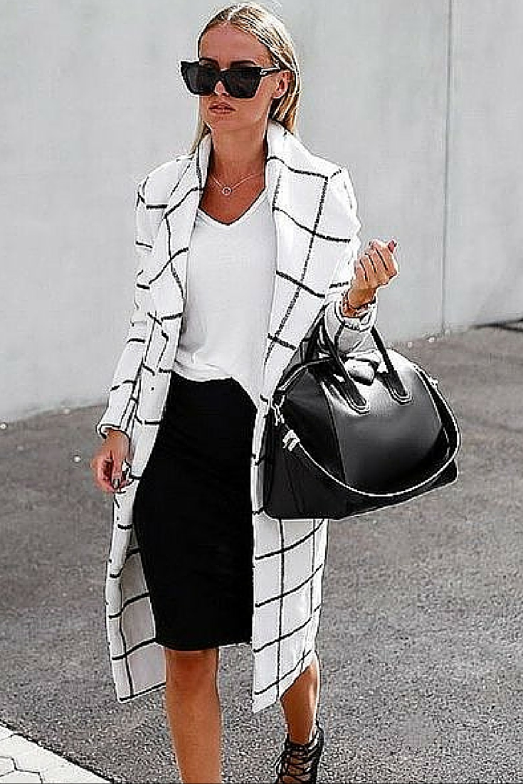 sneakers and pearls, street style, office wear, black pencil skirt with a white tee and a statement coat, Givenchy bag, trending now.jpg