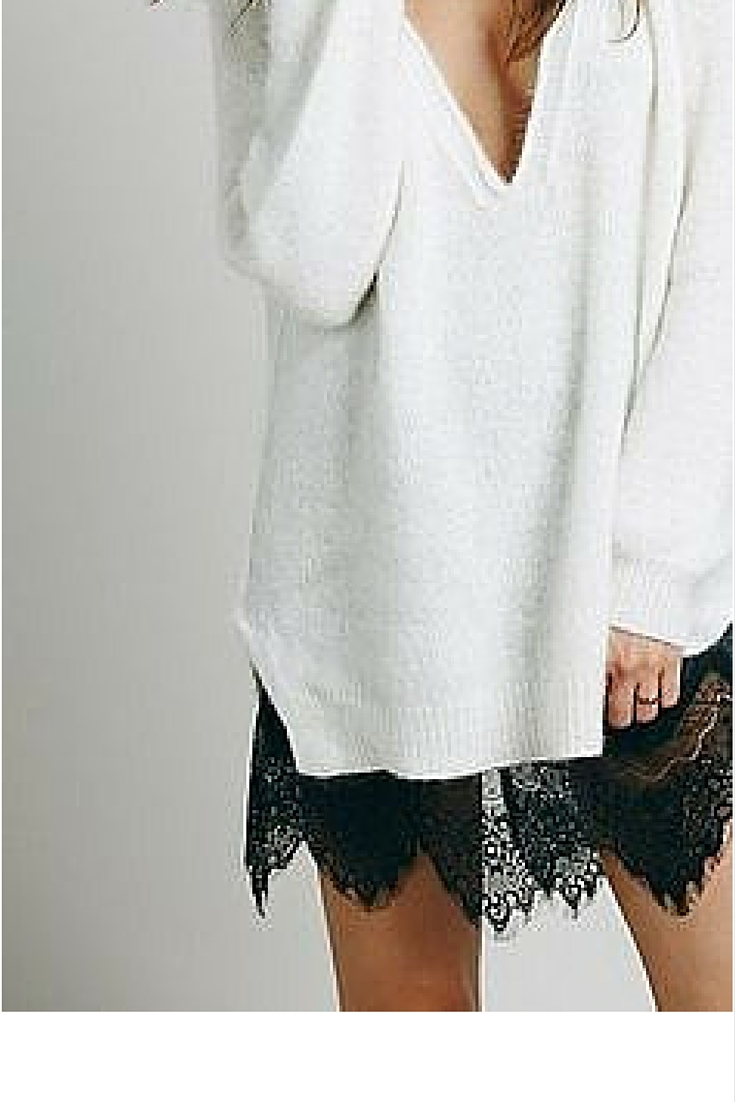 sneakers and pearls, white jumoer over a black lace dress, bring sexy back, trending now.jpg