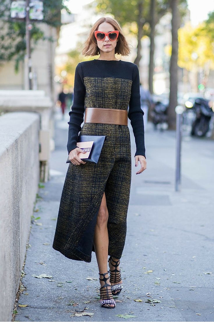 sneakers and pearls, street style, wear a dress when doing business, red sunglasses, trending now.jpg