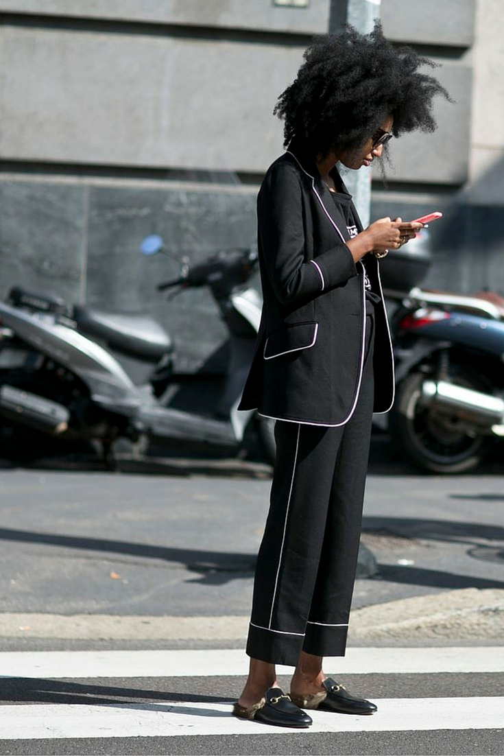 sneakers and pearls, street style, black suit with white pipping, afro hair, trending now.jpg