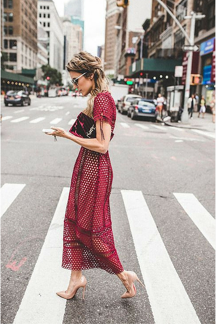 sneakers and pearls, street style, laser cut lace dress, louboutin heels, yves saint laurent bag, trending now.jpg