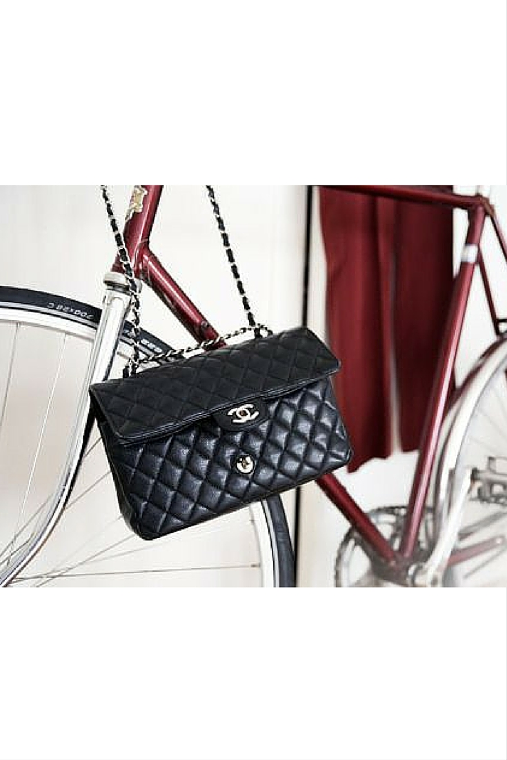 sneakers and pearls, street style, Chanel bag, push bike for city strolls, trending now.jpg