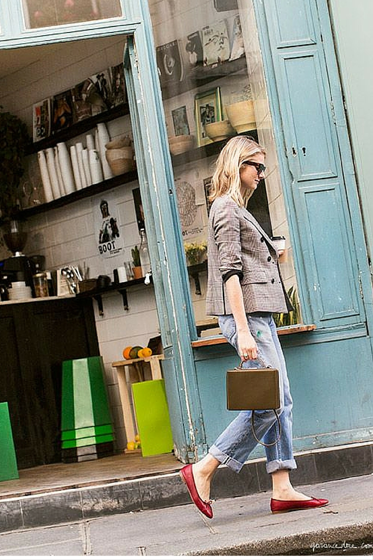 sneakers and pearls, street style, office wear, wear denim pants with a blazer and flats for a day in the office , trending now.jpg