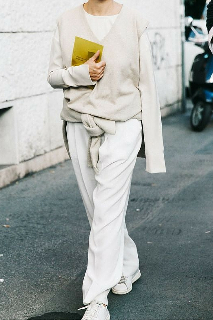 sneakers and pearls, street style, white and beige ensemble, sneakers with any outfit, trending now.jpg