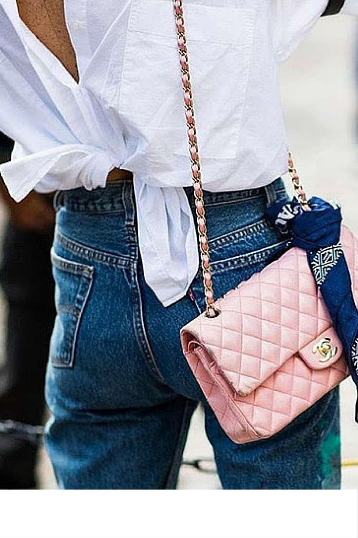 sneakers and pearls, street style, wear your white shirt front to back, pink Chanel bag, trending now.jpg
