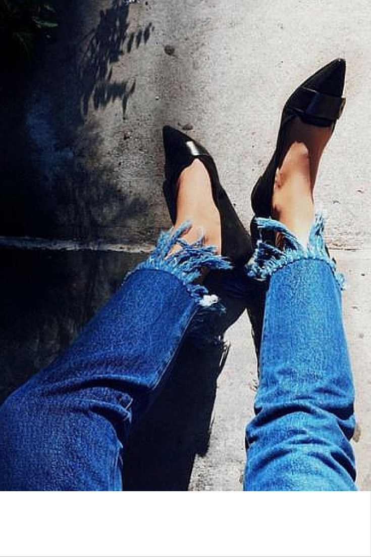 sneakers and pearls, street style, wear denimm with black kitten heels, trending now.jpg