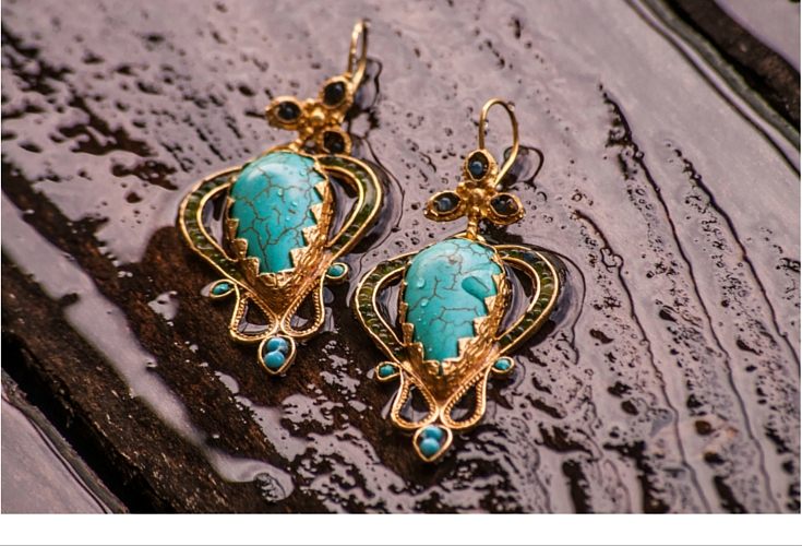 sneakers an dpearls, one off earrings, gold earrings with turqouise stones, trending now, summer earrings.jpg