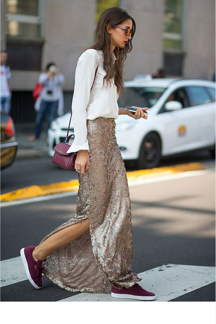 sneakers and pearls, street style, match sequins and sneakers for turn head look, trending now.jpg