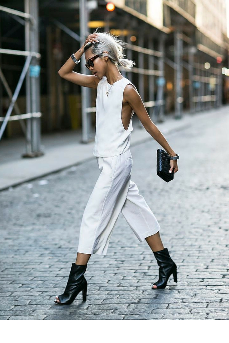 sneakers and pearls, street style, total white look, black peep toe booties, trending now.j.jpg