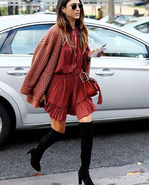 sneakers and pearls, boho dress with knee high boots for a transition to autumn, trending now, street style, u-la-la-land.jpg