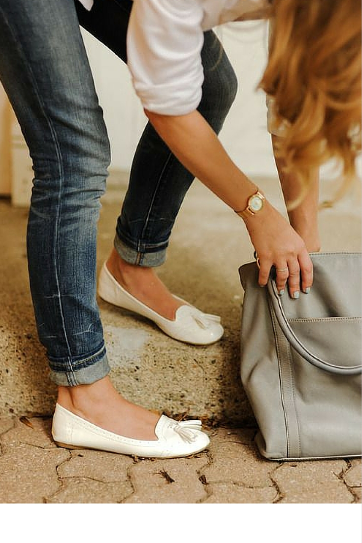 sneakers and pearls, street style, office wear, denim and white shirt is classic, trending now.jpg