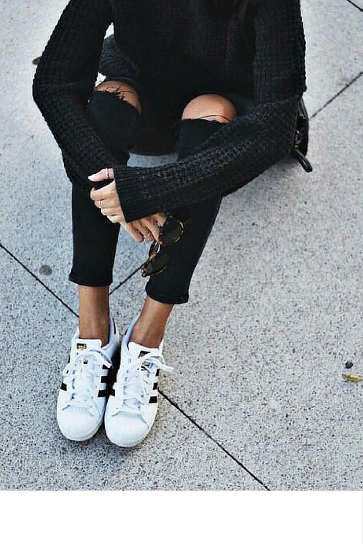 sneakers and pearls, street style, total black look, black distressed jeans, adidas original sneakers, trending now.jpg