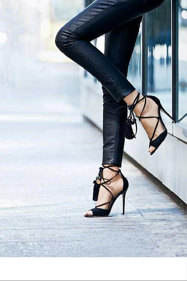 sneakers and pearls, street style, black heels with black leather pants, trending now.jpg
