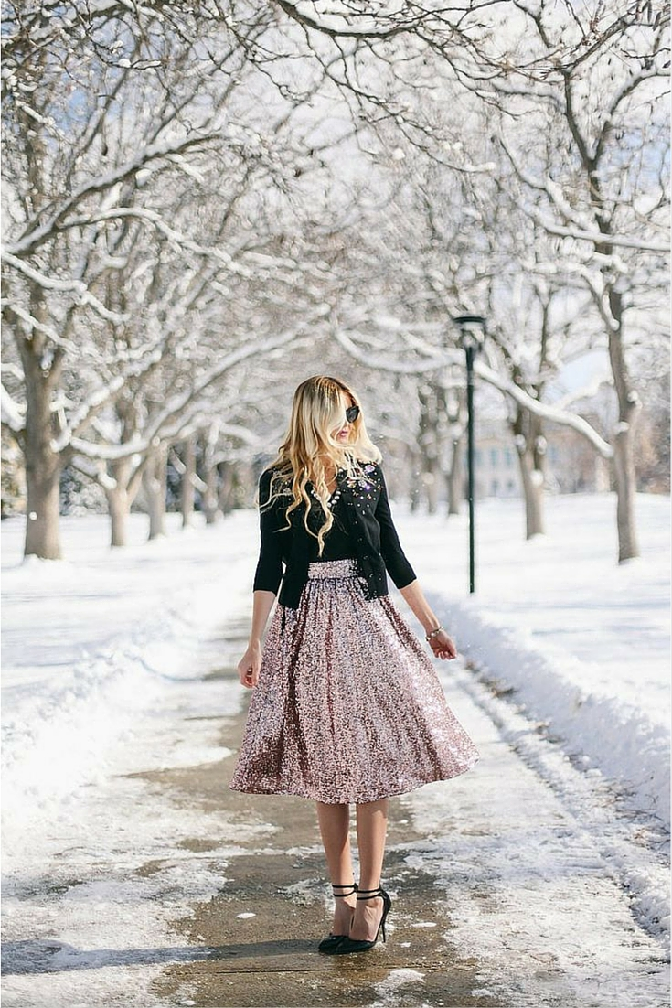 sneakers and pearls,neutral tones, street style, sequined skirt, white christmas, trending now.jpg