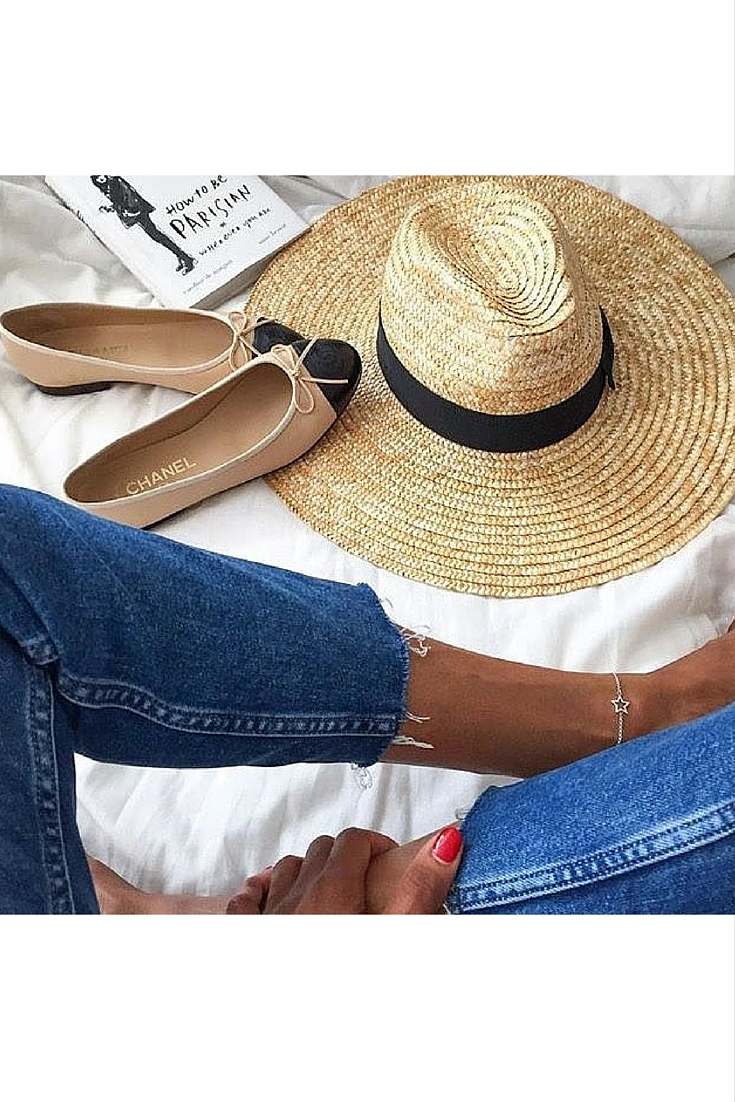 sneakers and pearls, beach life, summer, Chanel flats, straw hat, trending now.jpg