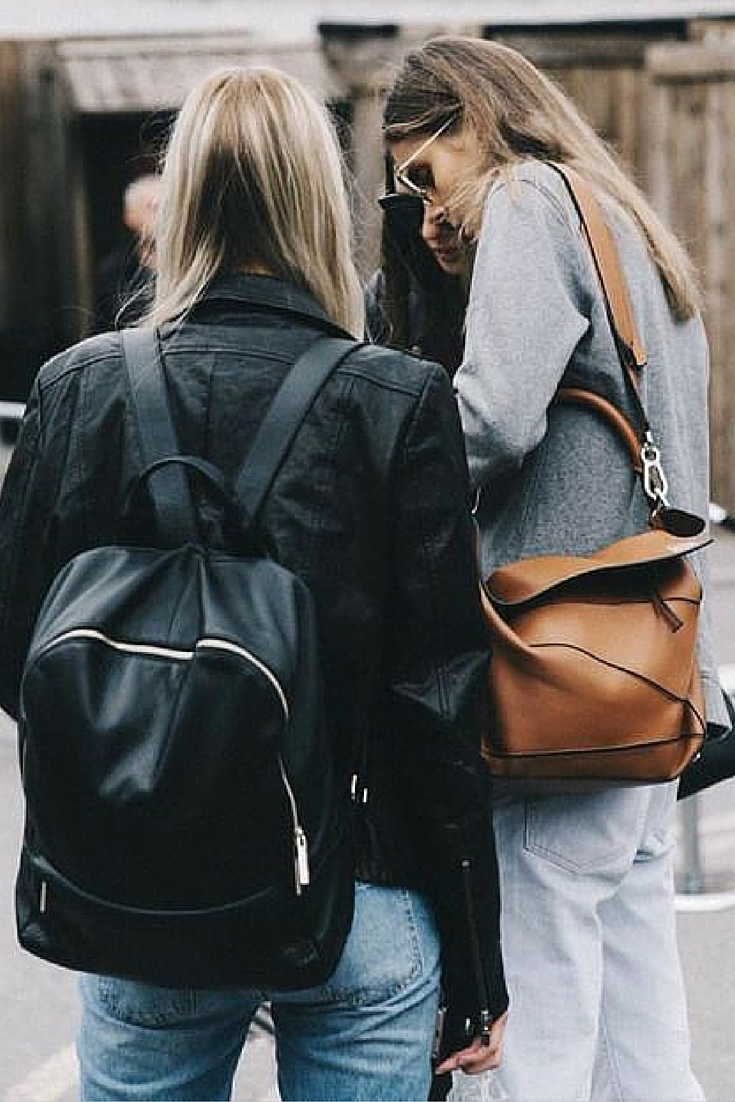 sneakers and pearls, street style, black back pack, tan shoulder bag, trending now.jpg