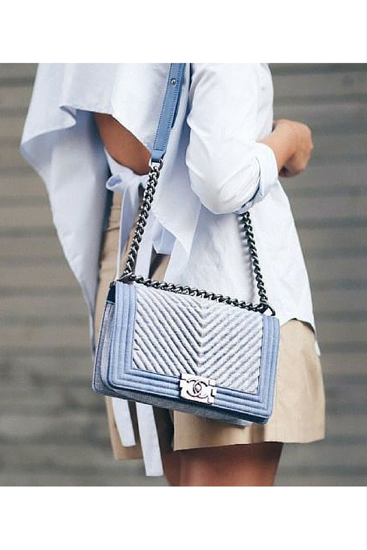 sneakers and pearls, street style, chanel boy bag, backless cotton shirt, beige shorts, trending now.jpg