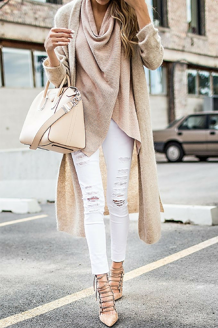 sneakers and pearls, street style, givenchy bag, white ripped jeans, nude knit under a nude cardigan, trending now.jpg