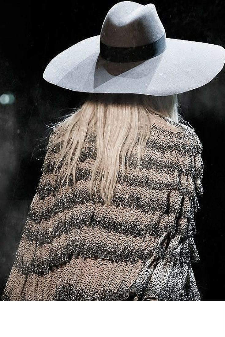 sneakers and pearls, runway look, fringed jacket, felt hat, trending now.jpg
