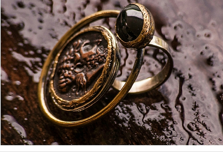 sneakers and pearls, gold coin ring with an onyx stone, trending now.jpg