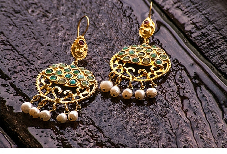 sneakers and pearls, one off earrings, gold earrings with small green jade stones and pearls, trending now.jpg