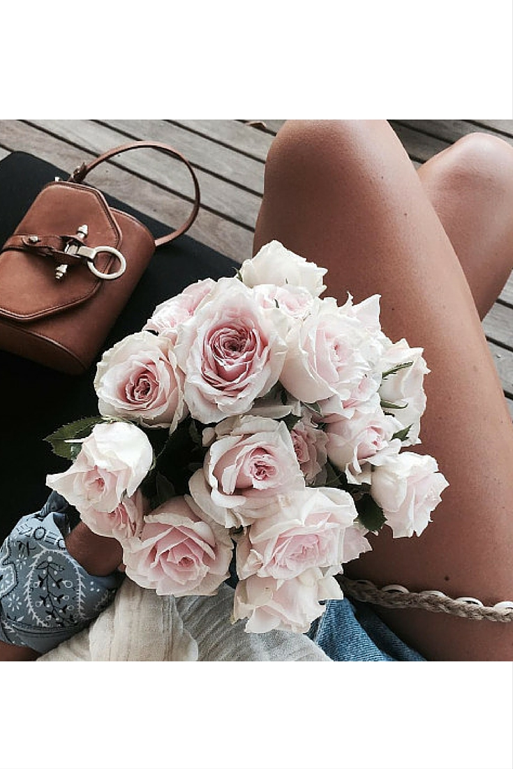 sneakers and pearls, a bunch of flowers, street style, denim shorts, Chloe bag, trending now.jpg