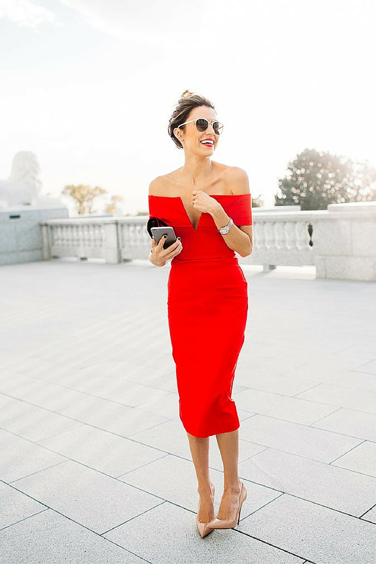sneakers and pearls, red fitted dress, nude pumps, dior sunglasses, trending now.jpg