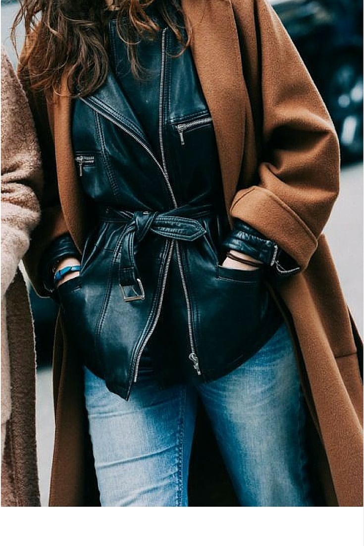 sneakers and pearls, street style, layer your leather jacket under a coat, trending now.jpg