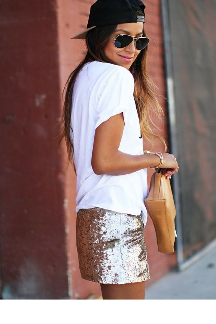 sneakers and pearls, street style, lmix and match sequined skirts with cotton t-shirts for a casual look, trending now.jpg
