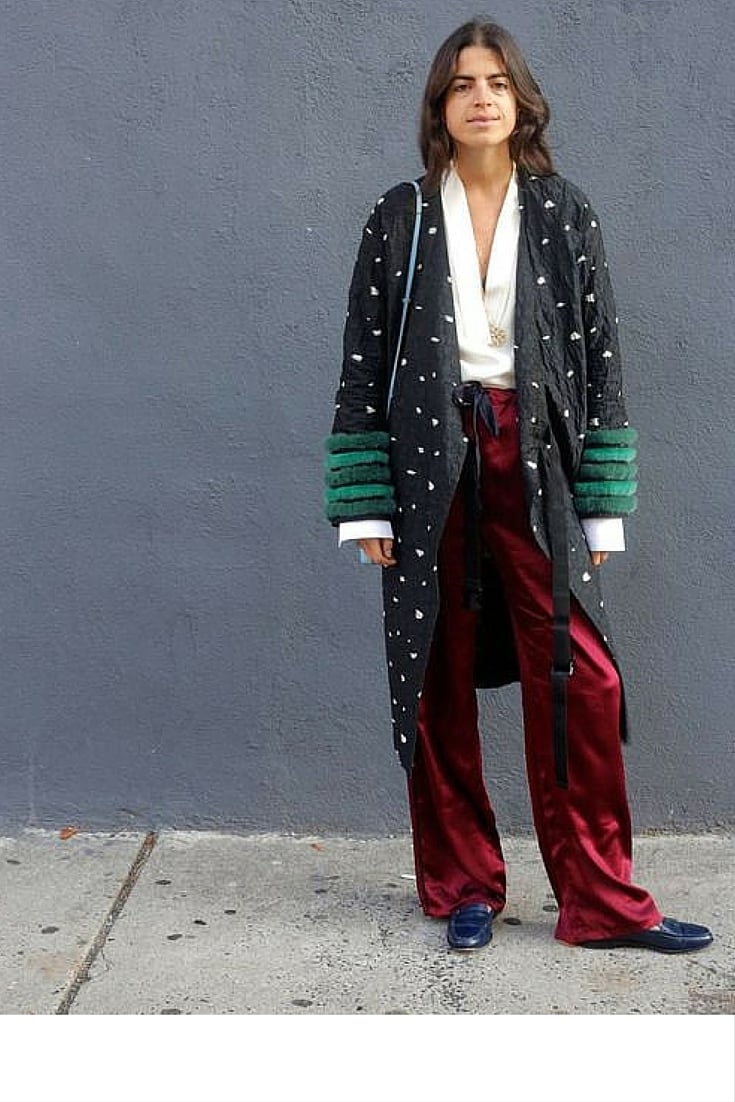 sneakers and pearls, street style, the queen of layering, Leandra, layer a pajama bottom with a printed coat and a pair of brogues, trending now.jpg