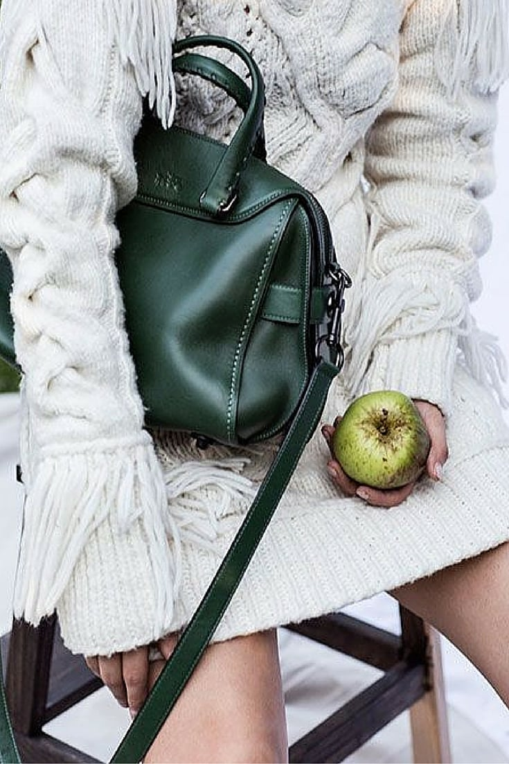sneakers and pearls, street style, thick knit dress, green leather bag, trending now.jpg