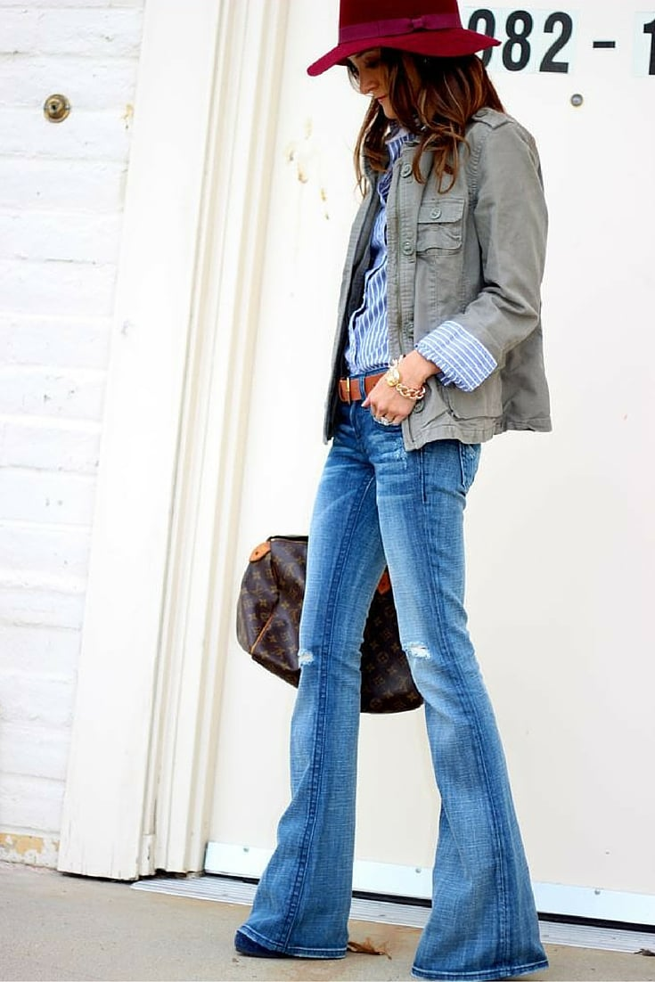 sneakers and pearls, street style, wear a felt hat for a boho autumn look, bell bottom jeans, trending now.jpg