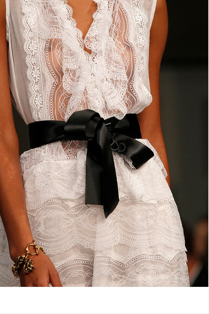 sneakers and pearls, runway, models, white lace dress with black satin ribbon belt, haute couture, always trending now.jpg