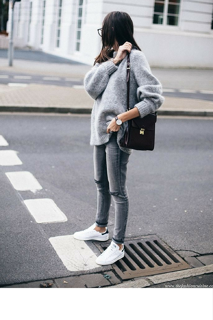 sneakers and pearls, street style, grey denim with white stan smith sneakers, trending now.jpg