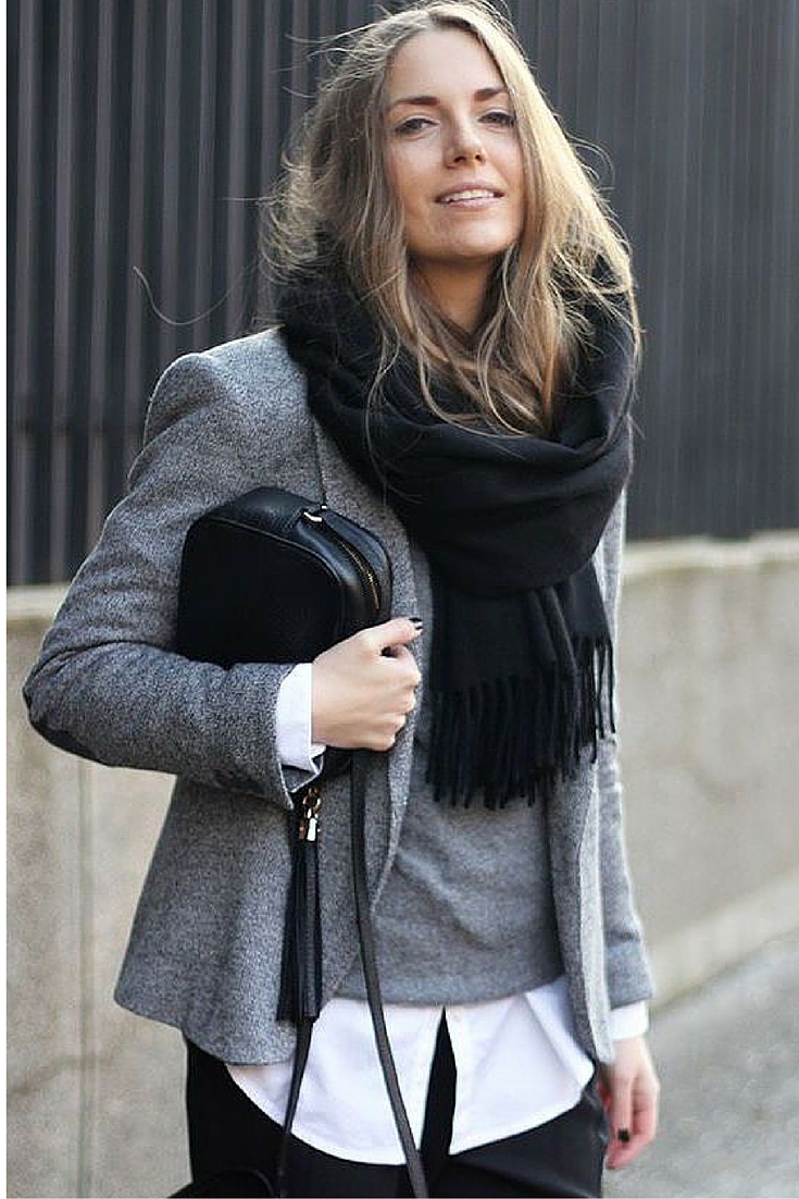sneakers and pearls, street style, grey ensemble with black denim pants for the office, office wear trending now.jpg