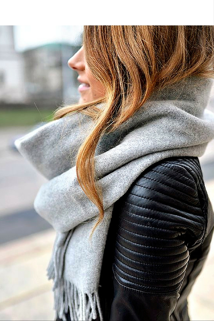 sneakers and pearls, street style, grey scarf with black leather jacket, trending now.jpg