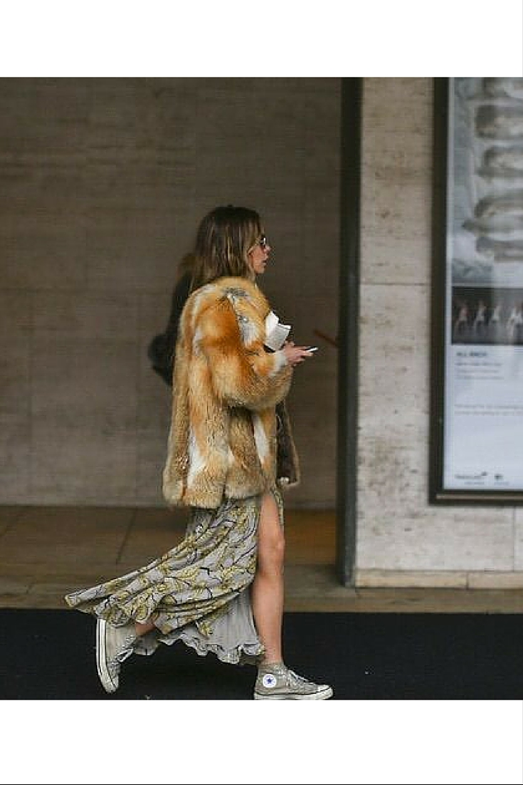 sneakers and pearls, street style, mix and match high tops with a dress and a fur coat, trending now..jpg