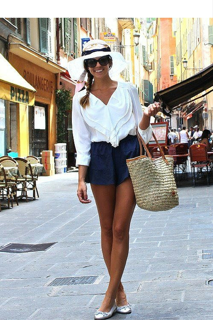 sneakers and pearls, street style, relaxed casual style with high waist shorts and a white frilly shirt, trending now..jpg
