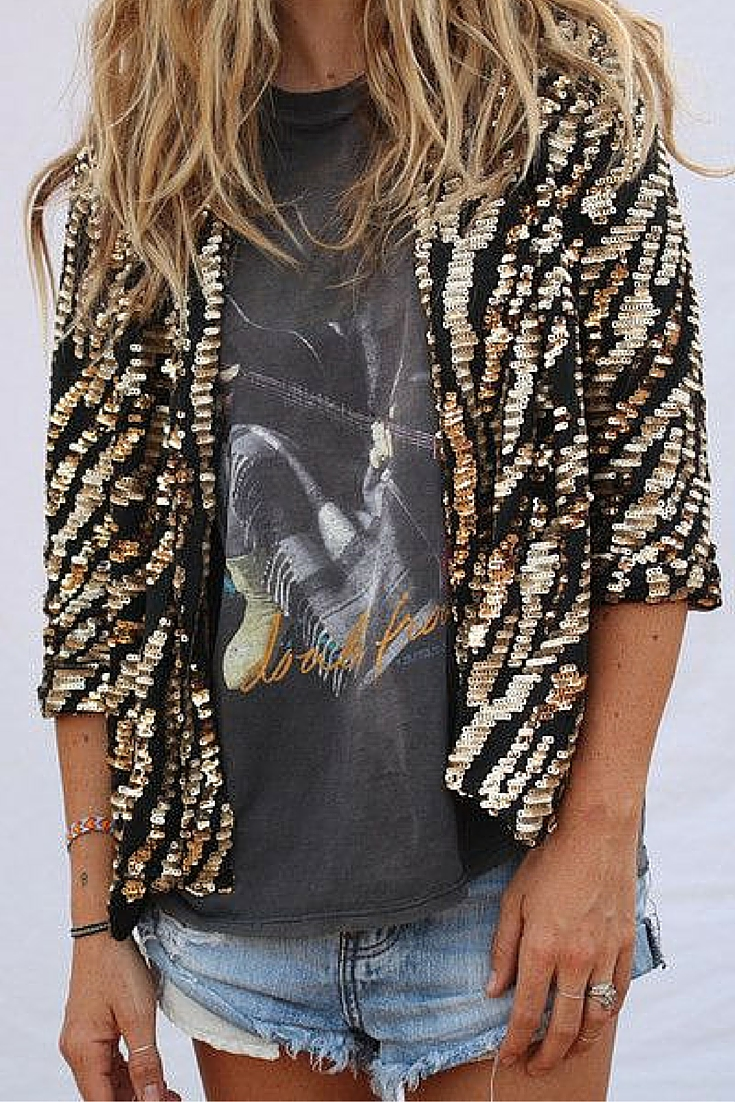 sneakers and pearls, street style, rock chic, sequined jacket, denim shorts, trending now.jpg