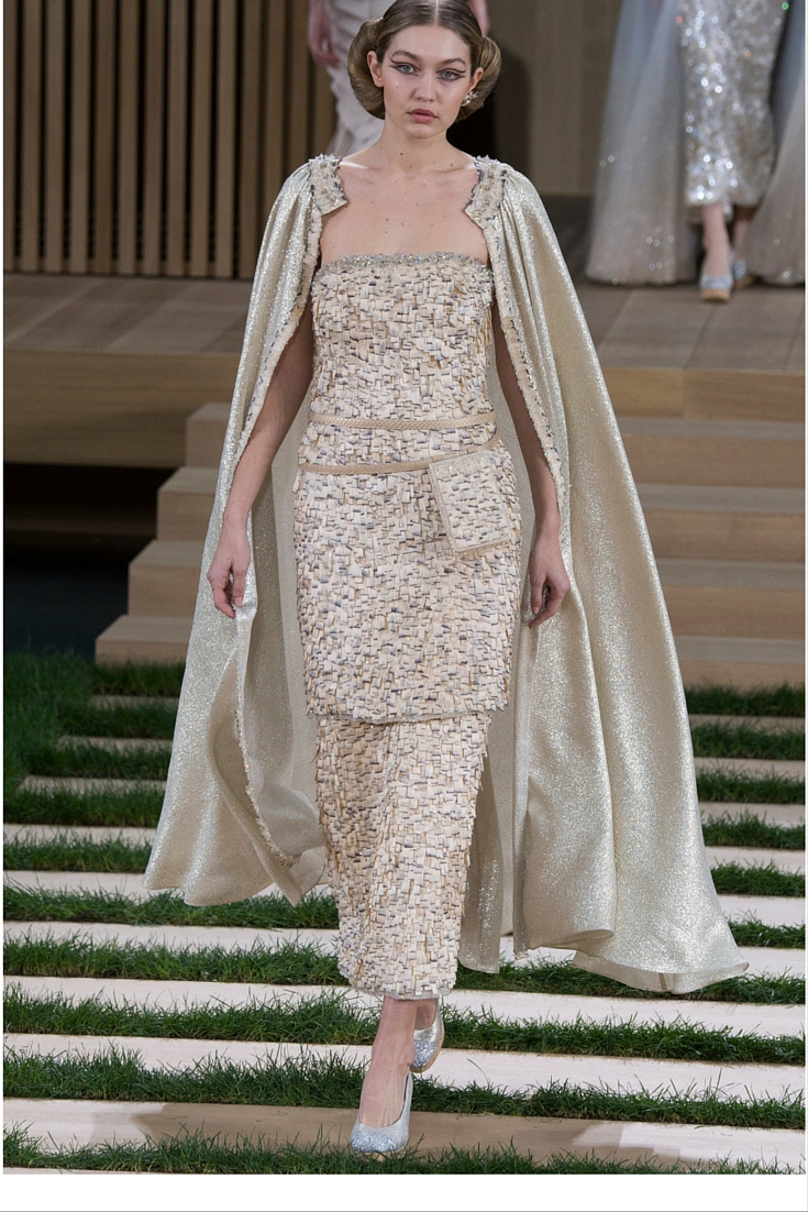 sneakers and pearls, haute couture 2016, coco chanel, karl lagerfeld, top models, sequined dress over pants with a cape, gigi hadid, trending now.jpg